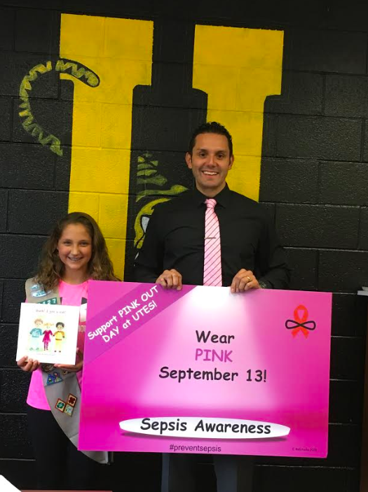 Caroline Robitaille (8th Grader) and Nicholas Diaz (Superintendent)