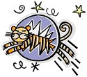Clipart of Tiger jumping through circle